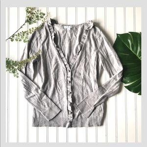 New York & Company ruffle cardigan grey